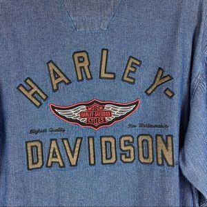 Men's Harley Davidson Denim Long Sleeve Shirt SZ M